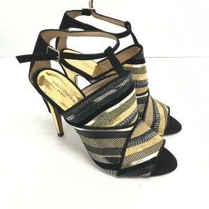 New Zara Collection Peep Toe Gold Heel SZ:40(9 US)